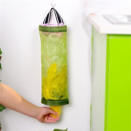 AUCH 1Pcs Hanging Folding Mesh Garbage Bag Organizer Trash Bags Holder Recycling Containers Plastic Waste Bag Storage for Kitchen, Green