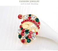 Hot Sale Colorful Crystal Rhinestone Brooch Gold Plated Santa Face Christmas Brooches