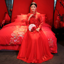Latest embroided Bride Use and OEM Service Supply Type luxury wedding dress Qipao