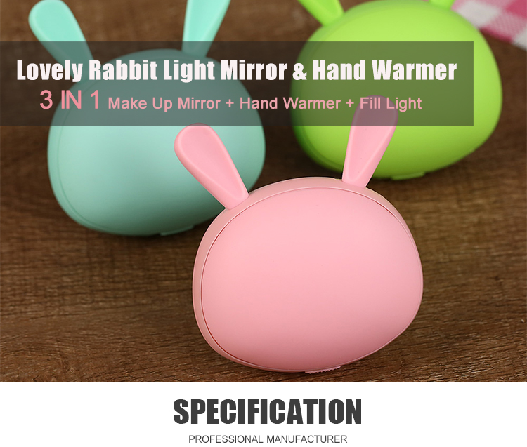 Cute Pocket Mini Reusable usb Hand Warmer with Led Makeup Mirror