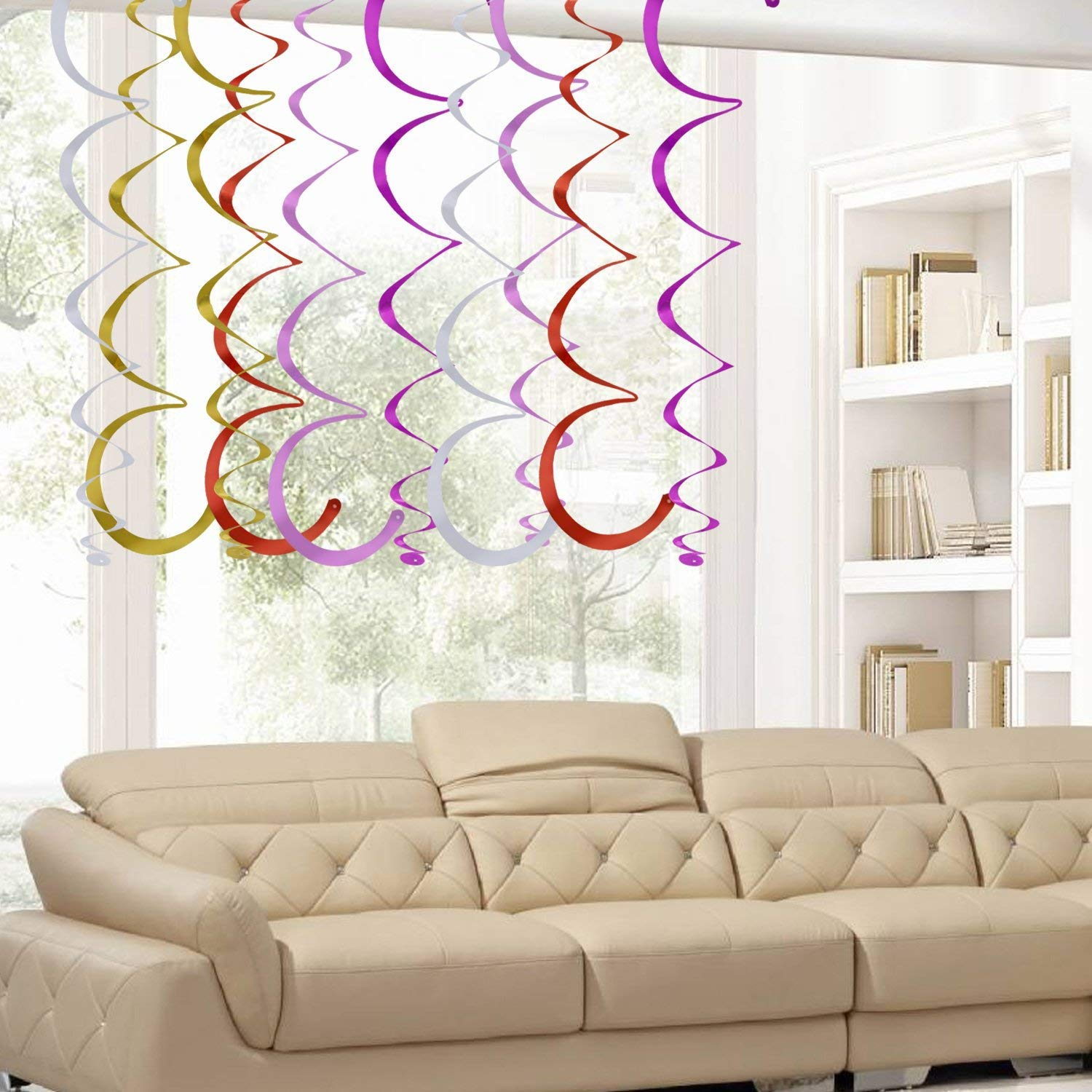 BTSD-home Hanging Swirl Decorations for Birthdays, Weddings, Valentines, Anniversaries etc - Multi Coloured, Gold, Silver, Pink, Red and Purple - Each Pack Contains 30 Swirls