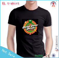 custom basketball warm up shirts/el music t shirt custom/el flashing t shirt