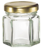 1.5oz glass jar/clear hexagon honey glass jar with gold lid/mini glass jam jar.