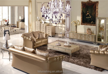 FS008 Luxury Contemporary Gold Pearl Shine Italian Leather Stainless Steel  Living Room European Sofa Home Furniture