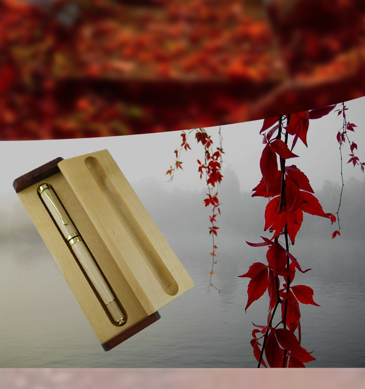 high end good writing maple wood roller pen,customized logo printing wood pen