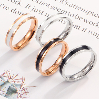 Fashion Simple Scrub Stainless Steel Women 's Rings 4 mm Width Rose Gold Color Finger Jewelry Gift For Girl
