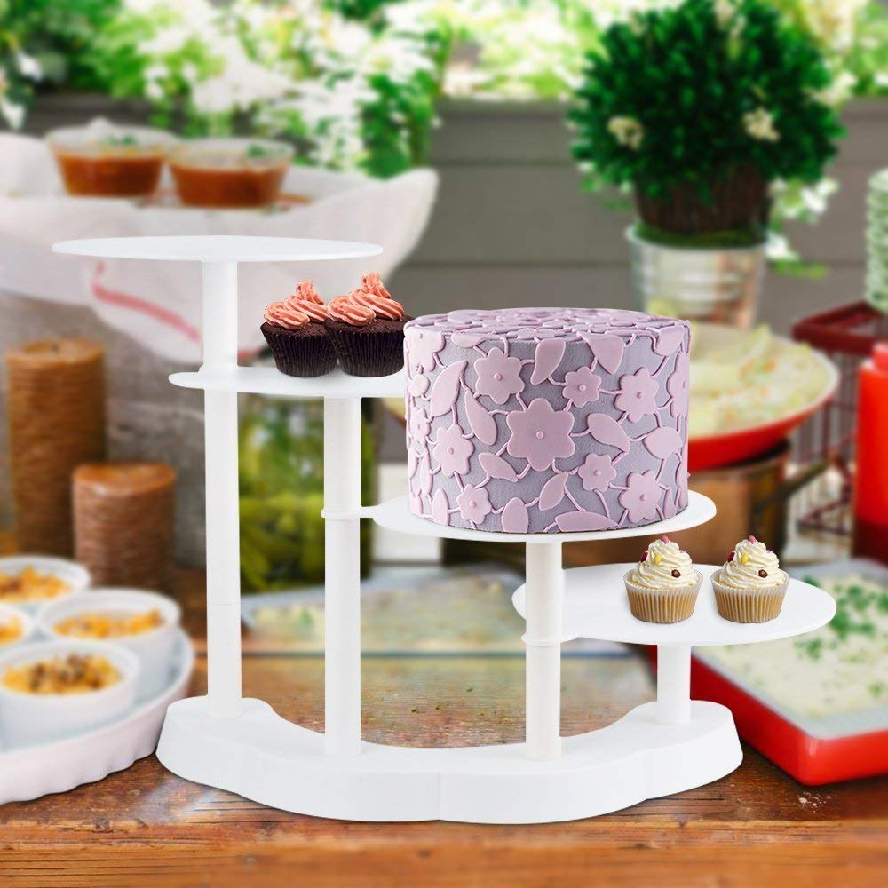 Hindom 4 Tier Stair-Stepping Tiered Cake Stand for Wedding Party Birthday ,Multilayer Cupcake and Food Display Stand, White (UK Stock)