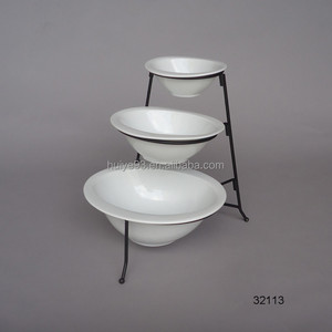 3 Tiered Oval Chip and Dip Set with Metal Rack, Three Tier Dessert and Snack Server