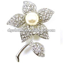 Crystal Flower with Leaf Brooch