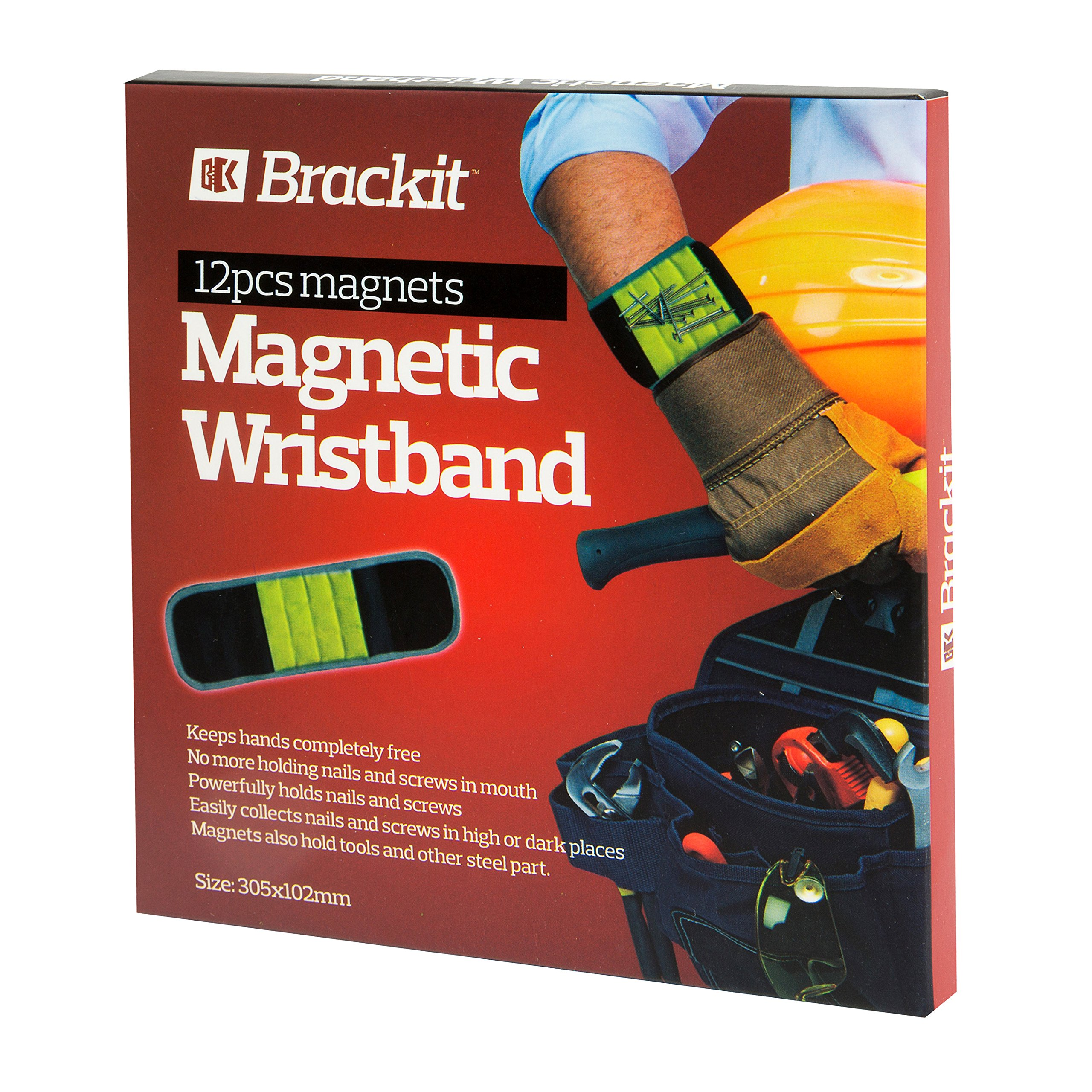Brackit Magnetic Wristband Tool | Adjustable Magnet Wristband Powered By 12 Strong Magnets | Holds Screws, Nails, Bolts, Drill Bits & Other Metal Objects Black (Black & Yellow)