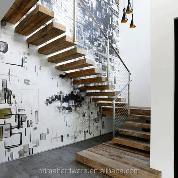 wall side straight stair/floating staircase/hidden stringer stairs