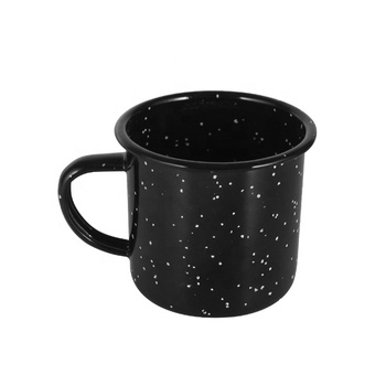 Top Selling LFGB Approved eco-friendly stock 16oz Black and blue speckled enamel camping mug