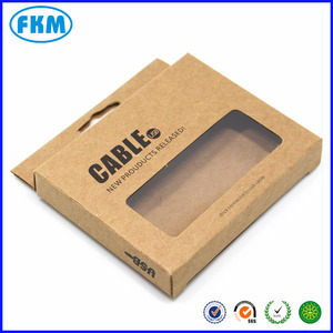 Kraft Paper Data Cable Packaging Box W/ Window Computer Mobile Phone Cable