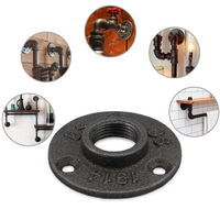 "1/2"" 3/4"" Floor Flange Malleable Iron Pipe Fittings 3-holes Flanges For Handrail Wall Mount BST Threaded"