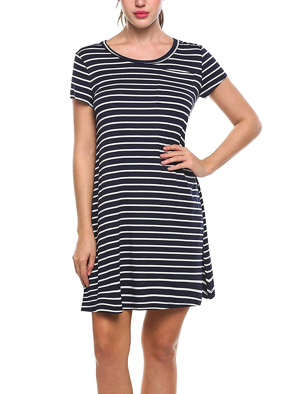 ec4f58cd5ea9 Get Quotations · Kancystore Women's Tunic Swing T-Shirt Dress Short Sleeve  Pocket Striped Tunic Dress
