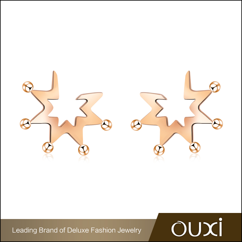 OUXI Women's Fashion Star Earrings Design Rose Gold Titanium Steel Stud Earrings