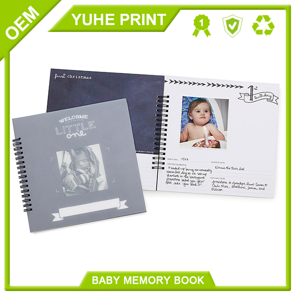 Spot UV cheap price spiral binding hot sale top quality case bound baby memories book