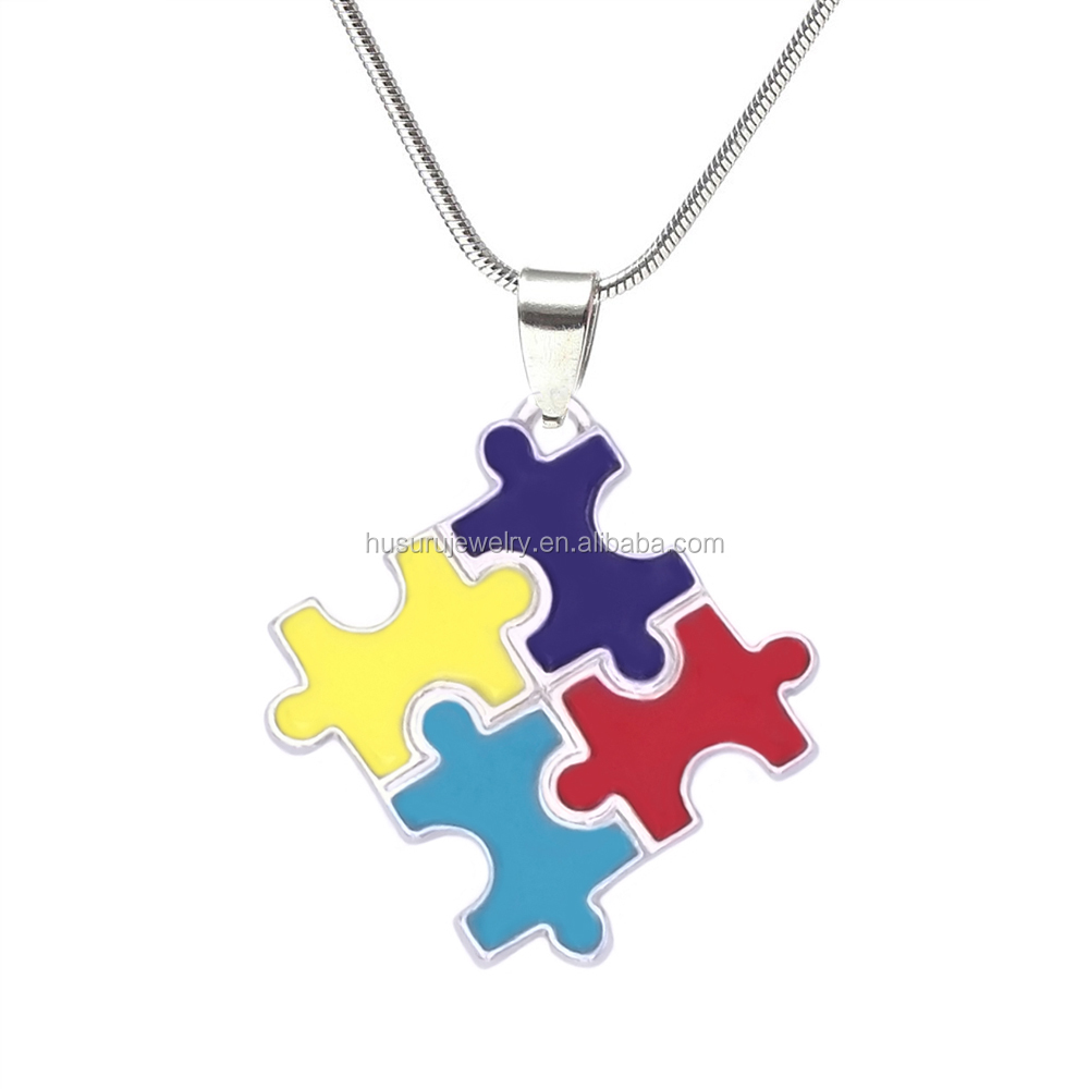 Eco Friendly Fashion Enamel Colors Jigsaw Autism Puzzle Piece Charm Necklaces Snake Chain Jewelry For Autistic
