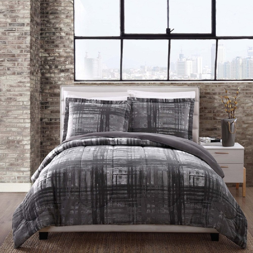 3 Piece Charcoal Grey Madras Plaid Theme Comforter Full Queen Set, Chic Modern Tartan Patchwork Plaided Bedding, Stylish Patchwork Glen Checked Themed Reversible Pattern, Dark Gray Silver Black