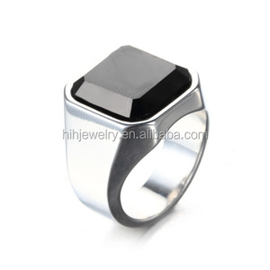Fashion Agate Finger Jewelry Designs Single Black Stone Ring For Men