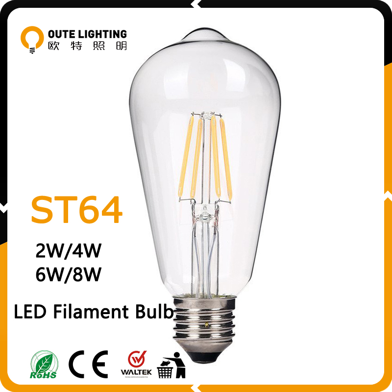 Professional Manufacturer 2W 4W 6W 8W LED New Design St64 Led Filament Bulb Lights