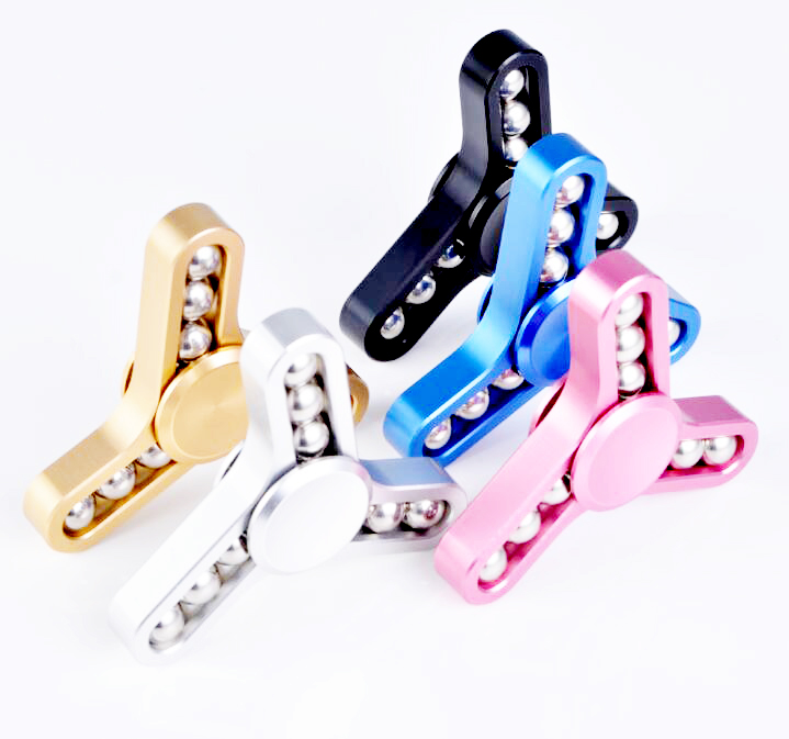 R188 Stainless Steel Bearing Desk Focus Toy Luxury anti-corossion aluminum alloy 3 bar metal tri fidget hand finger spinner
