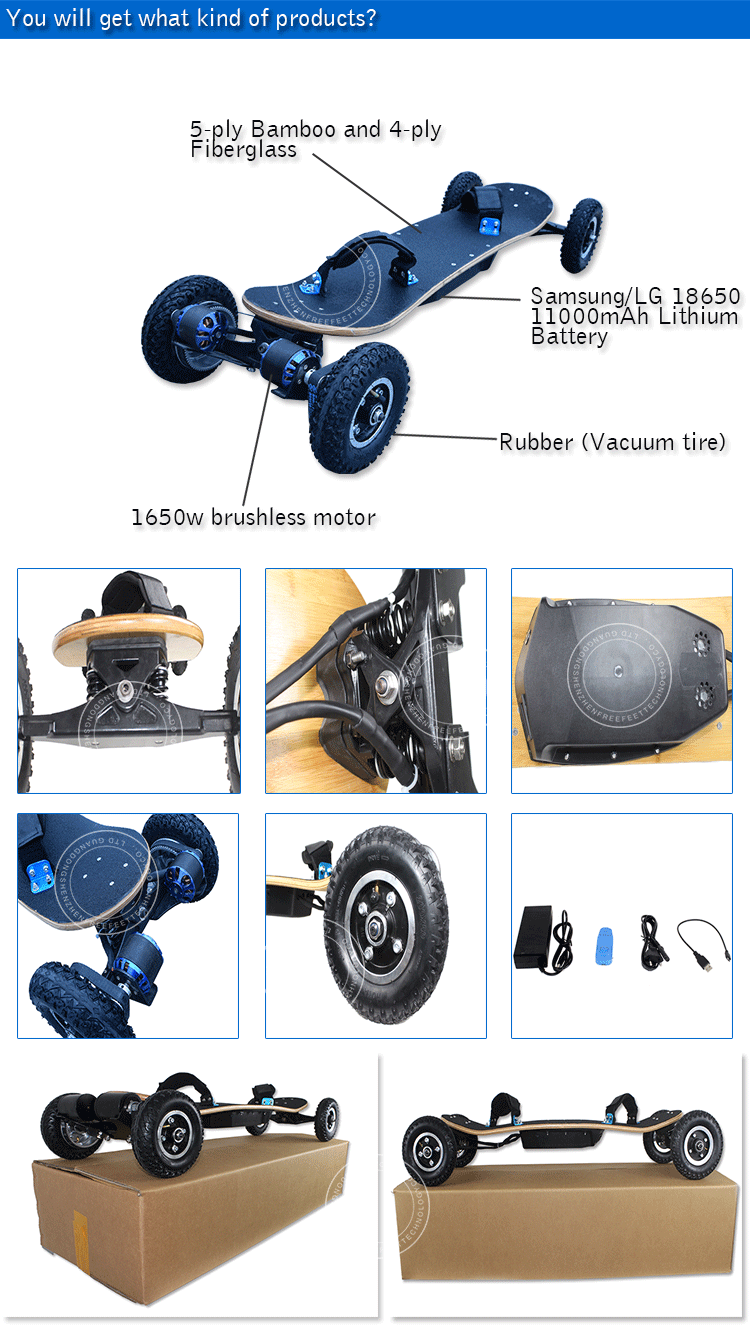 Cheap price 4 wheel electric scooter 1650w powered longboard electric mountain board