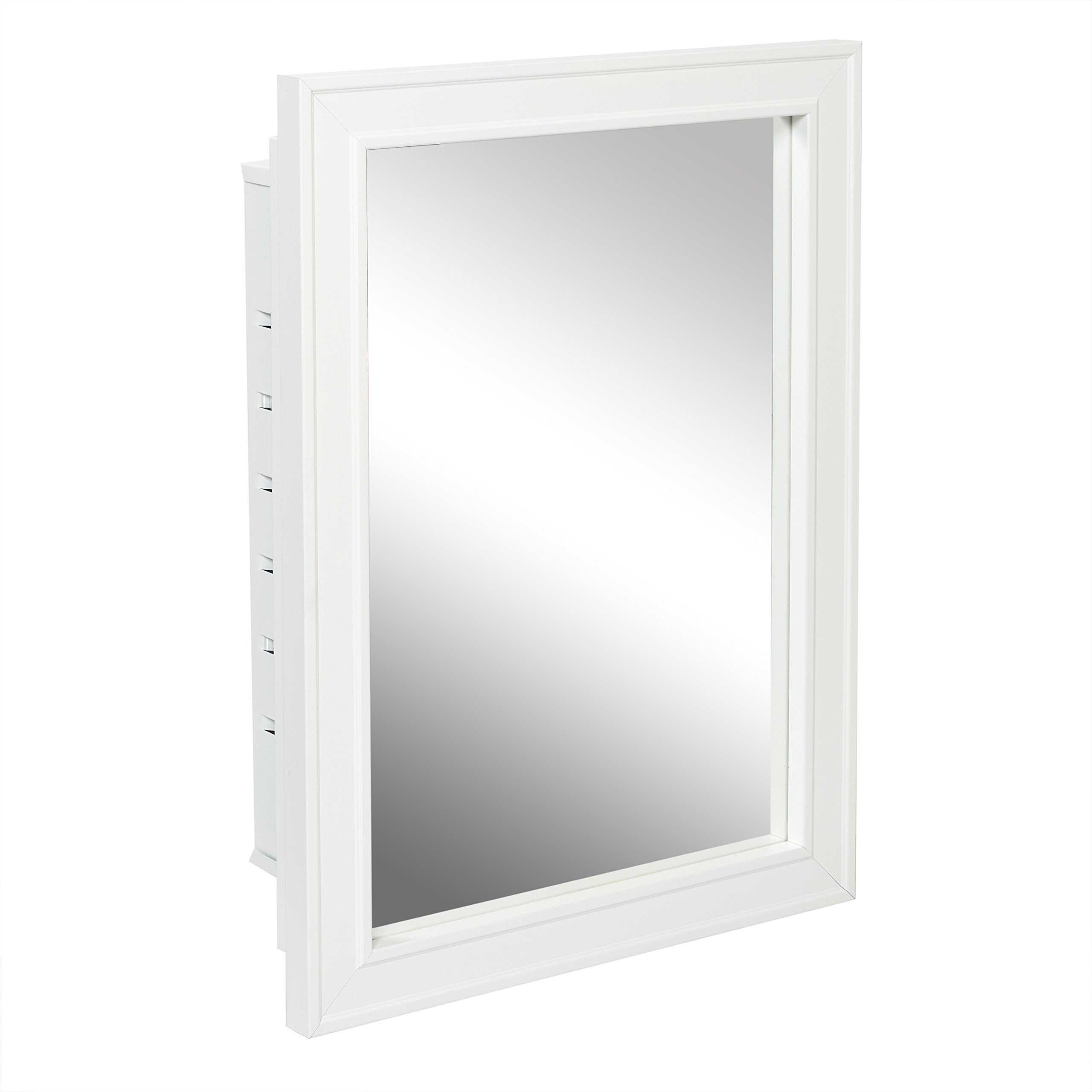 Get Quotations · American Pride G9610R1W   Recessed White Wood Framed  Mirror Steel Tech Body Medicine Cabinet 16 Inch