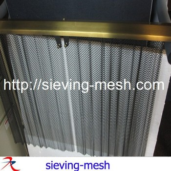 Gold Metal Wire Mesh Curtain / Metal Mesh Drapes Closed Up / Gold Mesh  Curtain