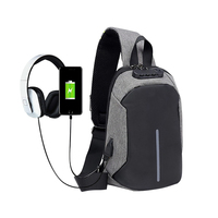 Simple Fashion Custom Print Waterproof USB Anti Theft Sling Backpack