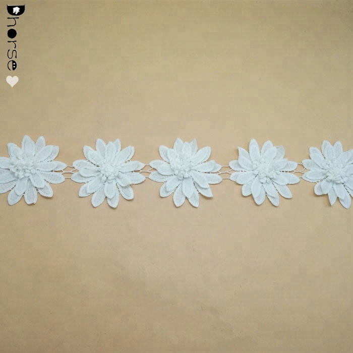 2018 High Quality Fashion lace chemical polyester material flower 3d lace trim DHDT308