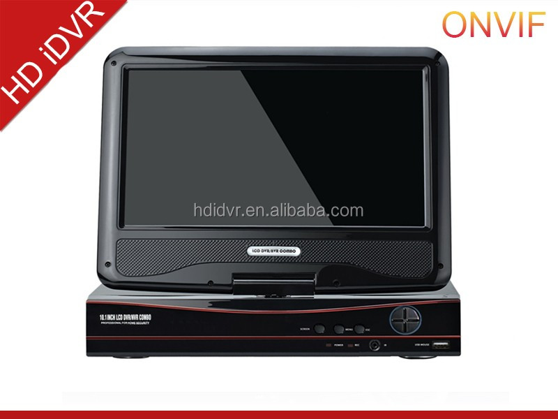 all in one 4 channel CCTV DVR with 10 Inch screen