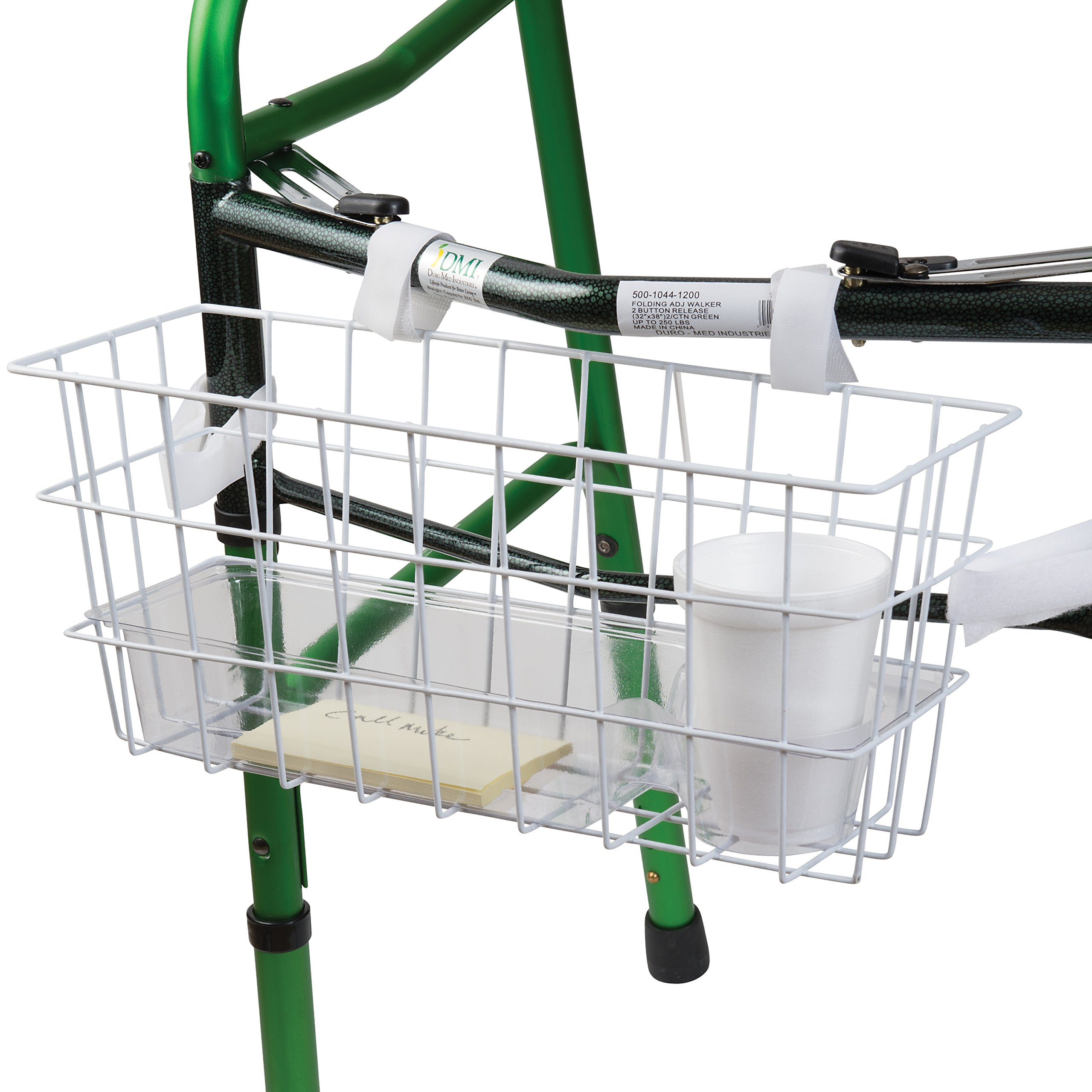 HealthSmart Walker Basket, Universal Basket For Walker With Tray and Cup Holder, Rollator Walker Basket, White