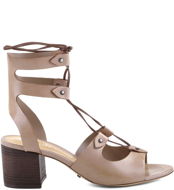 cfa4b8dc393 Get Quotations · SCHUTZ Monik Neutral Nude City Heel Gladiator Lace up  Detail Dress Sandal