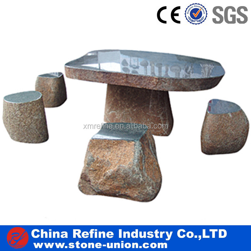 Rest natural stone slate sculpture tables and chairs