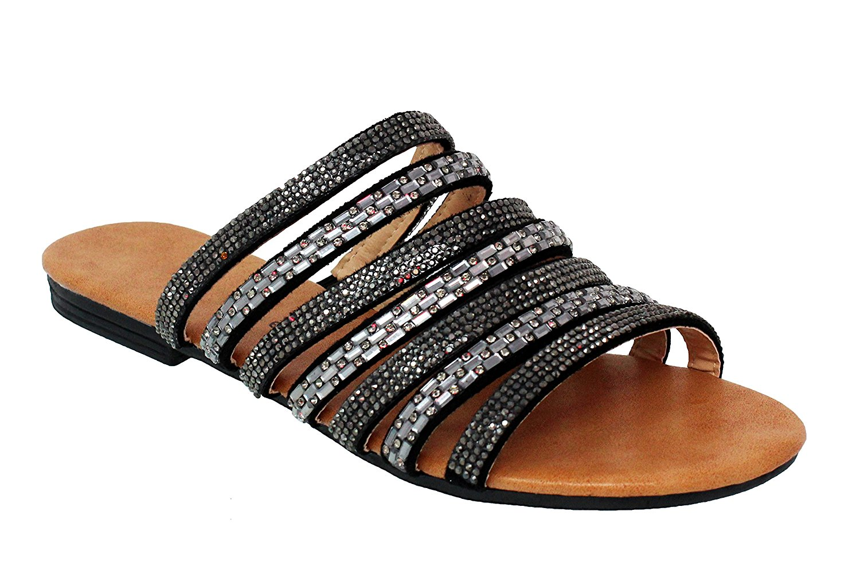 MVE Shoes Women's Rhinestone Strappy Flat Slip On