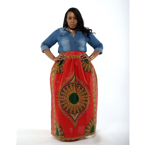 f722390187 Factory Price Plus Size Female African Dashiki Maxi Skirt With Pockets And Waist  Bow Sash