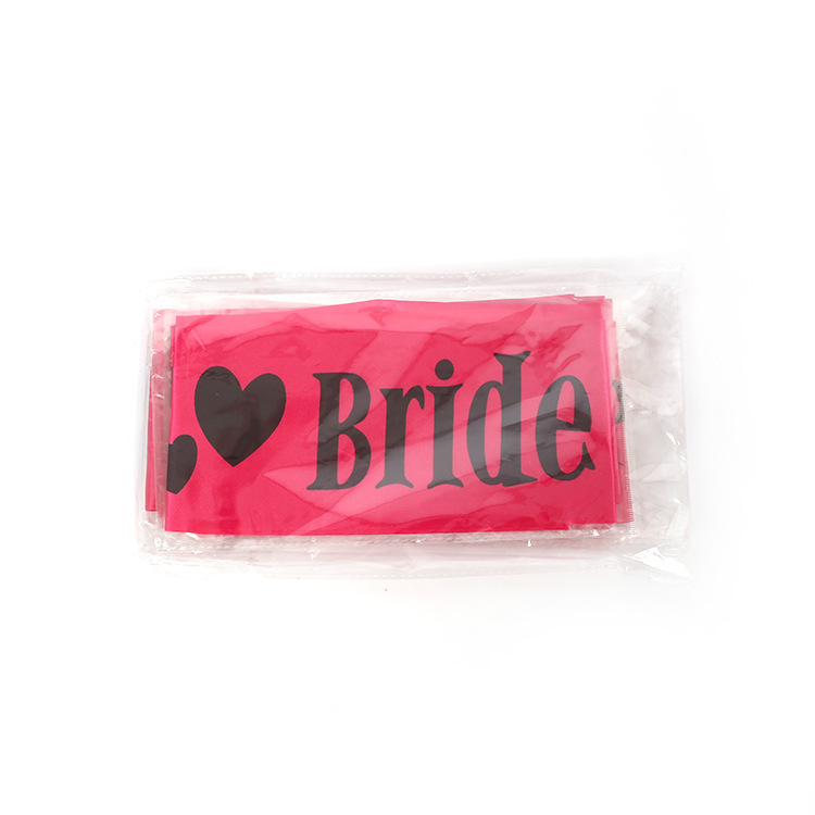 New product pink elegant bride to be sash black letter printing hen party sash