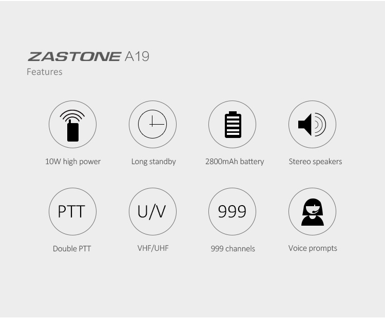 High tech zastone A19 5 km VHF UHF 10 watts 2800mah handy radio