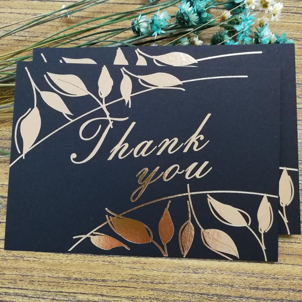 Luxury Black Gold Foil Thank You Happy Birthday Greeting Cards Wedding invitation card
