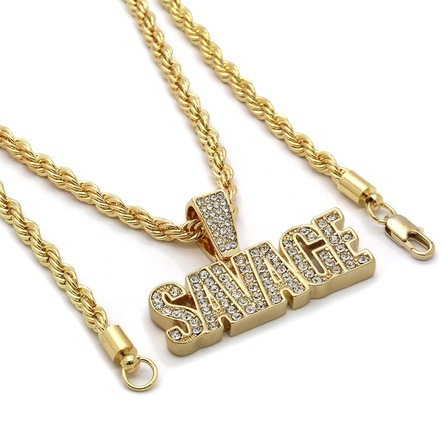 """L & L Nation Mens 14k Gold Plated SAVAGE Hip Hop Pendant 4mm Rope Chain Necklace (20"""", 24"""", 30"""", 36"""")"""