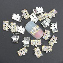 10 Pcs Glitter 3D Crown AB Rhinestones For Nail Art Decorations Gel Polish DIY Silver Alloy