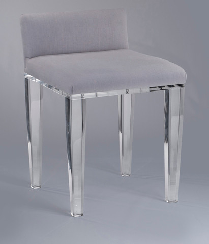 Square Clear Acrylic Vanity Stool W Back Or No