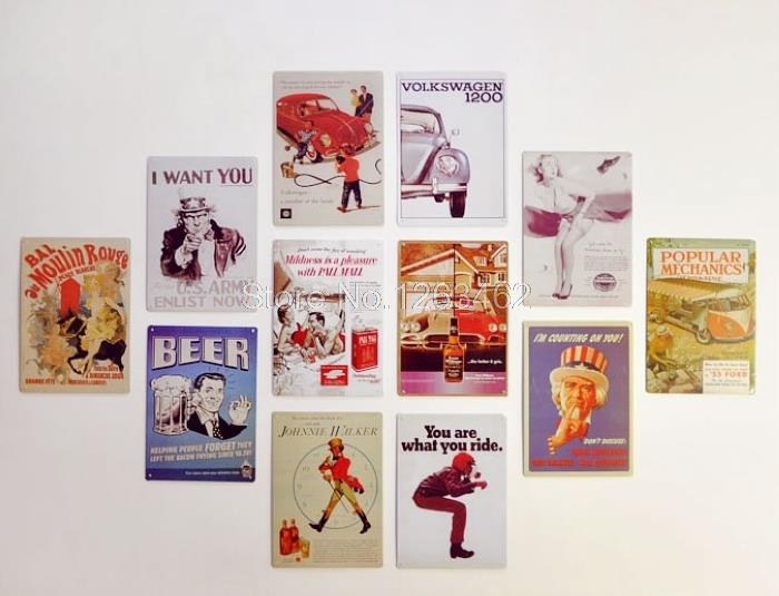 Christmas gifts 50pieces/lot Vintage Tin Signs Wall poster retro home decor House Cafe metal wall art 20*30 CM