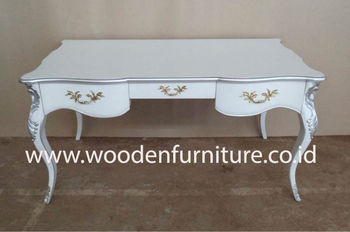 Antique Reproduction Desk French Style Study Table White Painted Writing Provincial Office Furniture