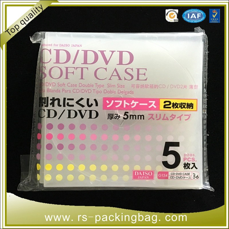 CD DVD Clear CPP/OPP Plastic Sleeve Bag Flap Seal Resealable