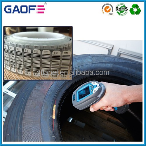 rubber adhesive vulcanize tyre labels, tyre label barcode printing, tire curing process label sticker