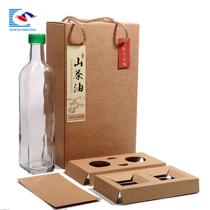 Custom Kraft food bottle box and bags set design for takeaway