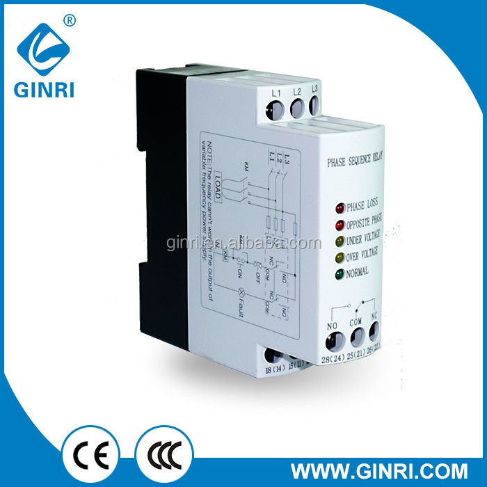 Ginri 3 Phase Power Monitor Relay Jvrd Over Voltage Protector 220v-480v Ac Relay
