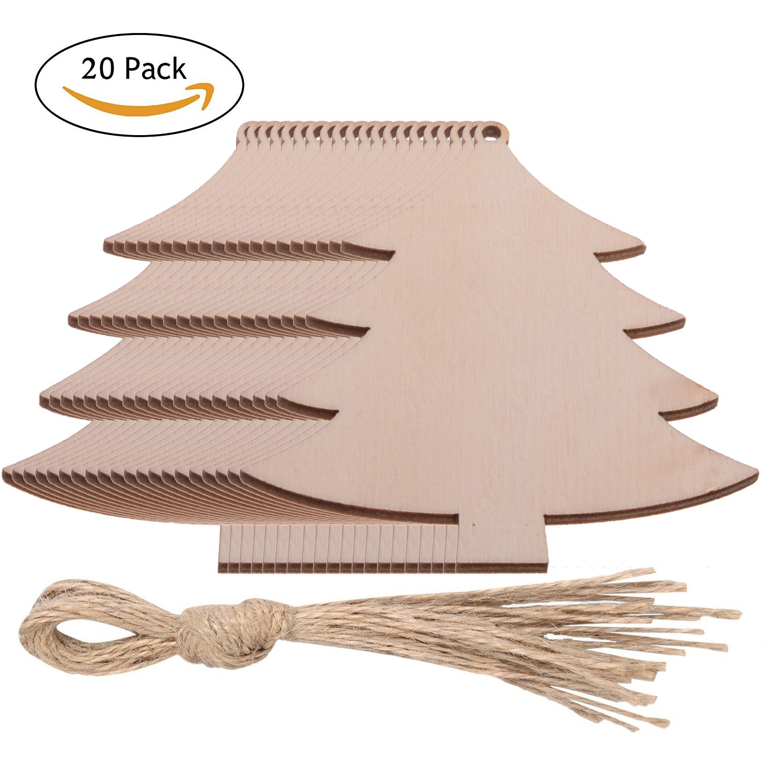 Pack of 20 Wooden Christmas Tree Shaped Embellishments Hanging Ornaments Decoration Unfinished Crafts for Christmas Decoration (20PCs Christmas Tree)